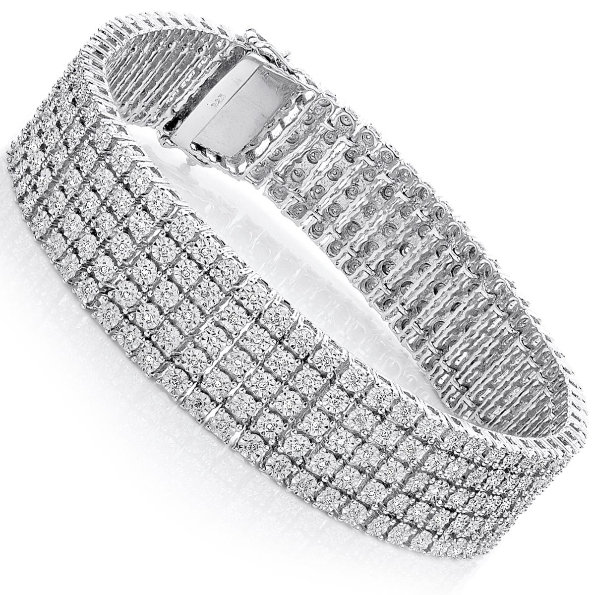Mens Sterling Silver Bracelets: 5 Row Diamond Bracelet 0.81ct