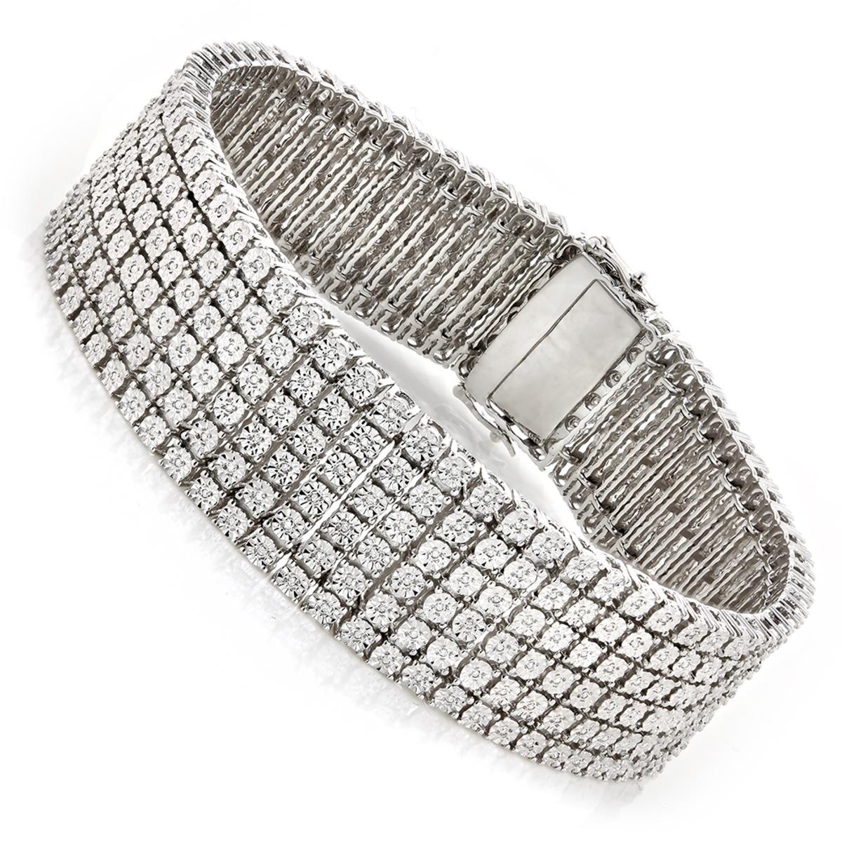 Mens Sterling Silver Bracelets: Diamond Bracelet 1.01ct
