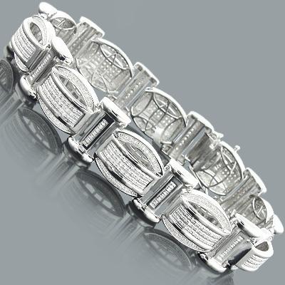 Mens Sterling Silver Bracelets: Diamond Bracelet 1.25ct