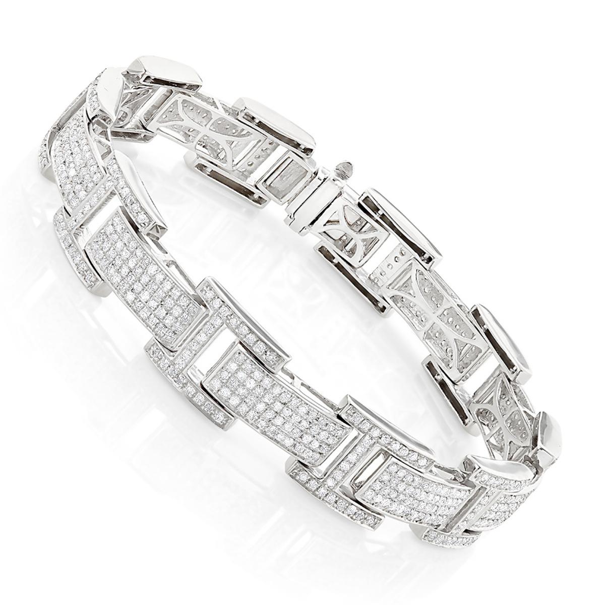 Mens Sterling Silver Diamond Bracelet 3.96 ct