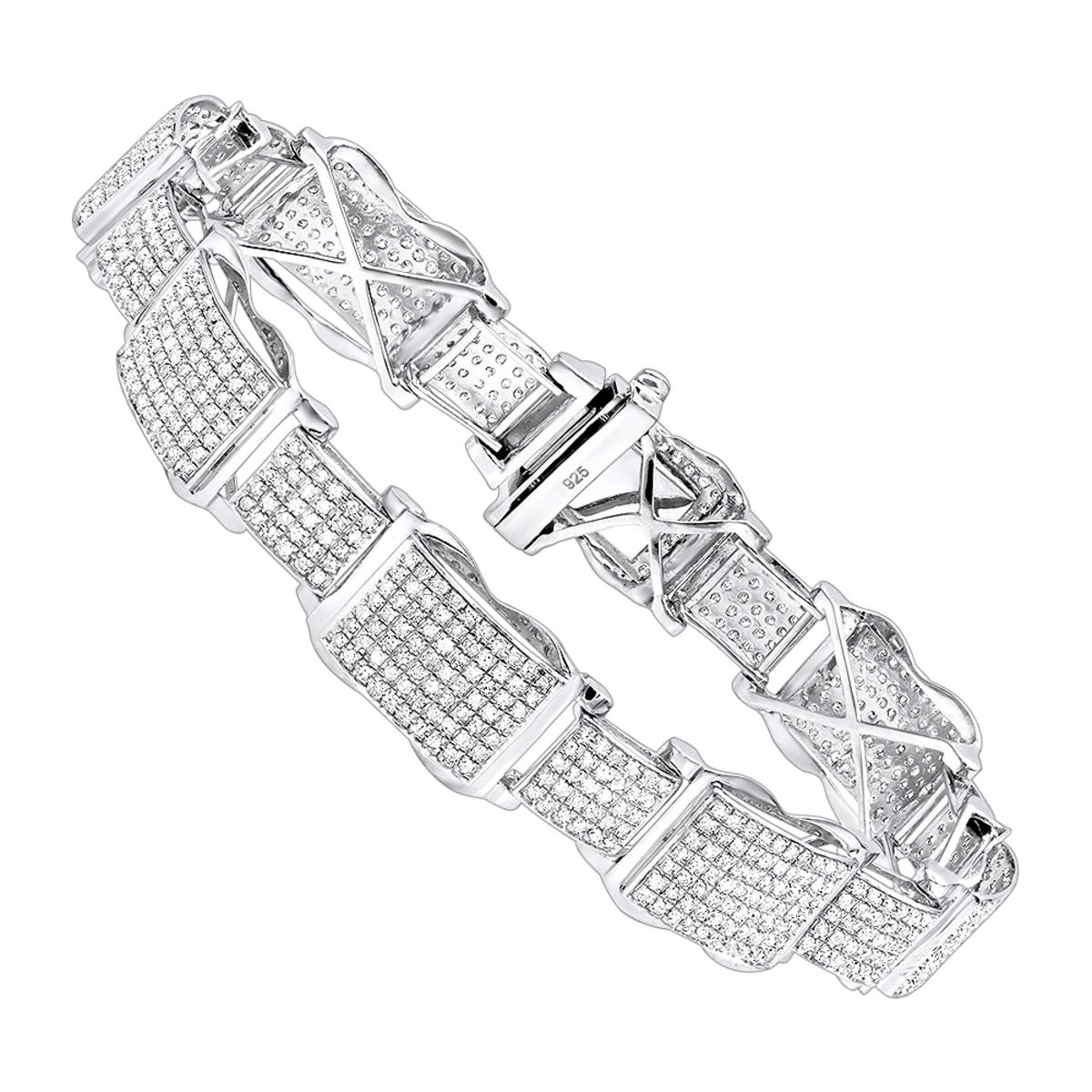 Mens Sterling Silver Diamond Bracelet 4 ct