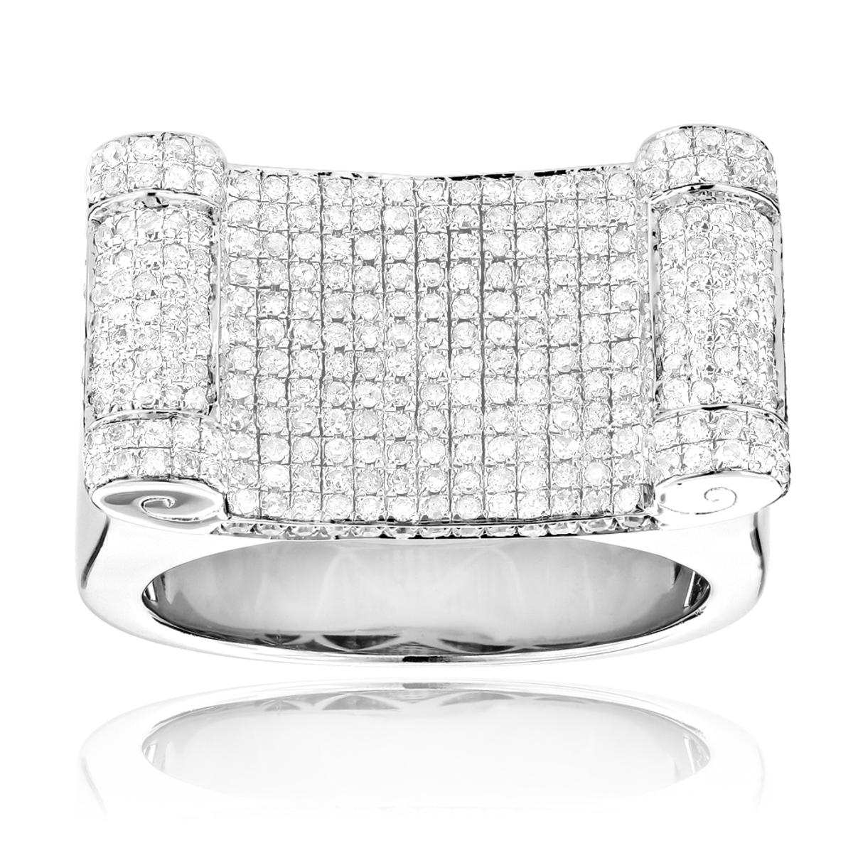 Mens Sterling Silver Diamond Ring 1.50ct