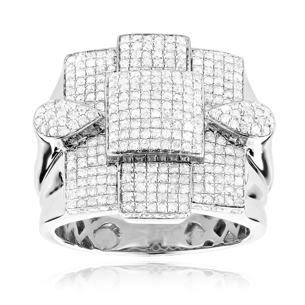 Mens Sterling Silver Diamond Ring 1.70ct