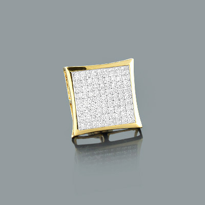 Mens Stud Earring with Round Diamonds 0.47ct 14K Gold