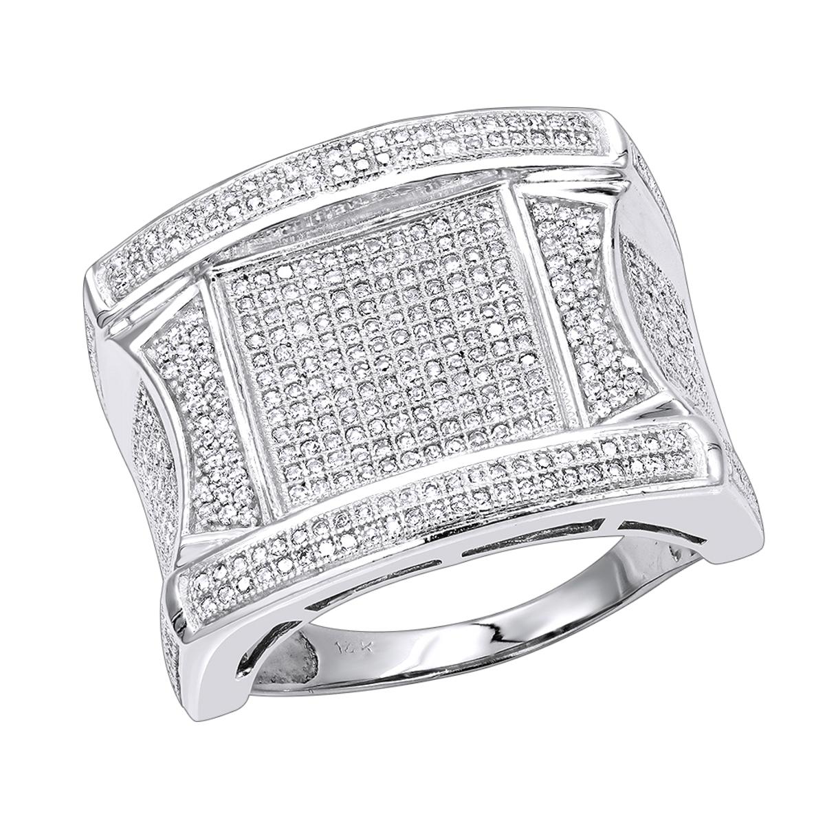 Mens Unique Diamond Ring 14K 1.25ct