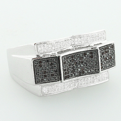 Mens White Black Diamond Ring 0.62ct 10K