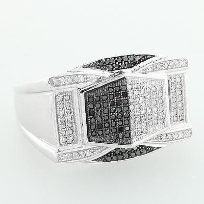 Mens White Black Diamond Ring 0.65ct 10K