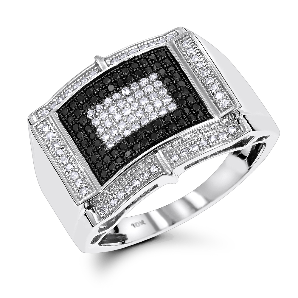White Black Diamond Ring for Men 0.65ct 10K Gold