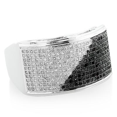 Mens White Black Diamond Ring 0.71ct 10K