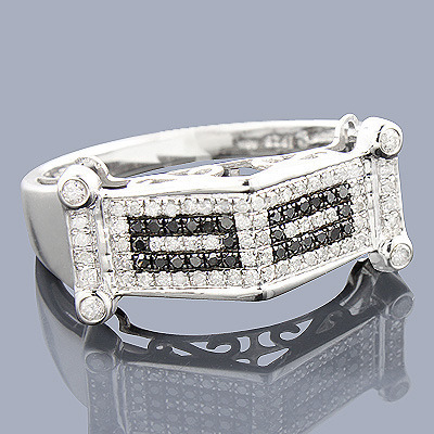 Mens White Black Diamond Ring 0.75ct Sterling Silver