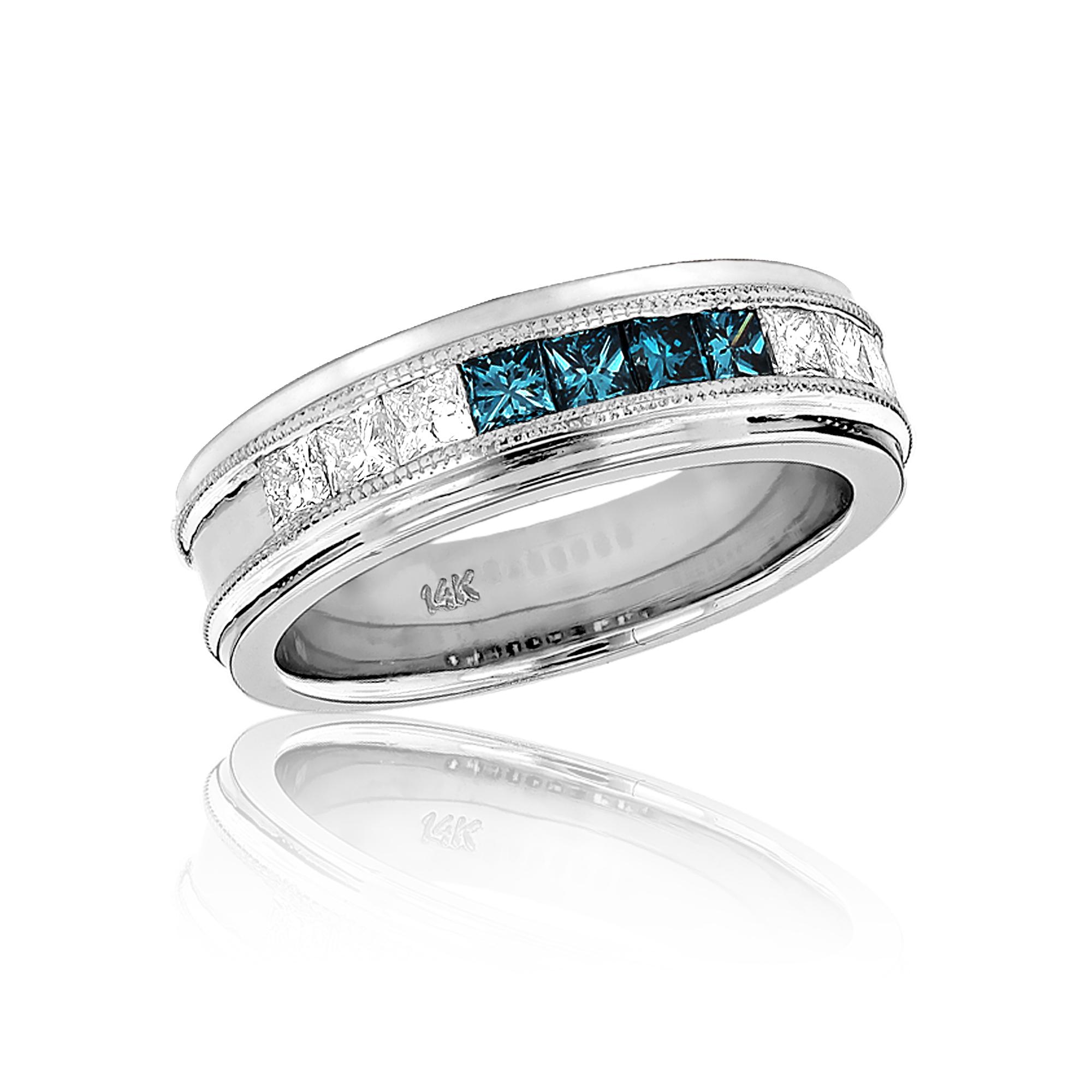 Mens White Blue Diamond Wedding Band 11ct 14k Gold Princess Cut