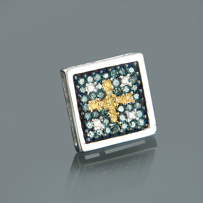 Mens White Blue Yellow Diamond Earring 0.29ct 14K Gold