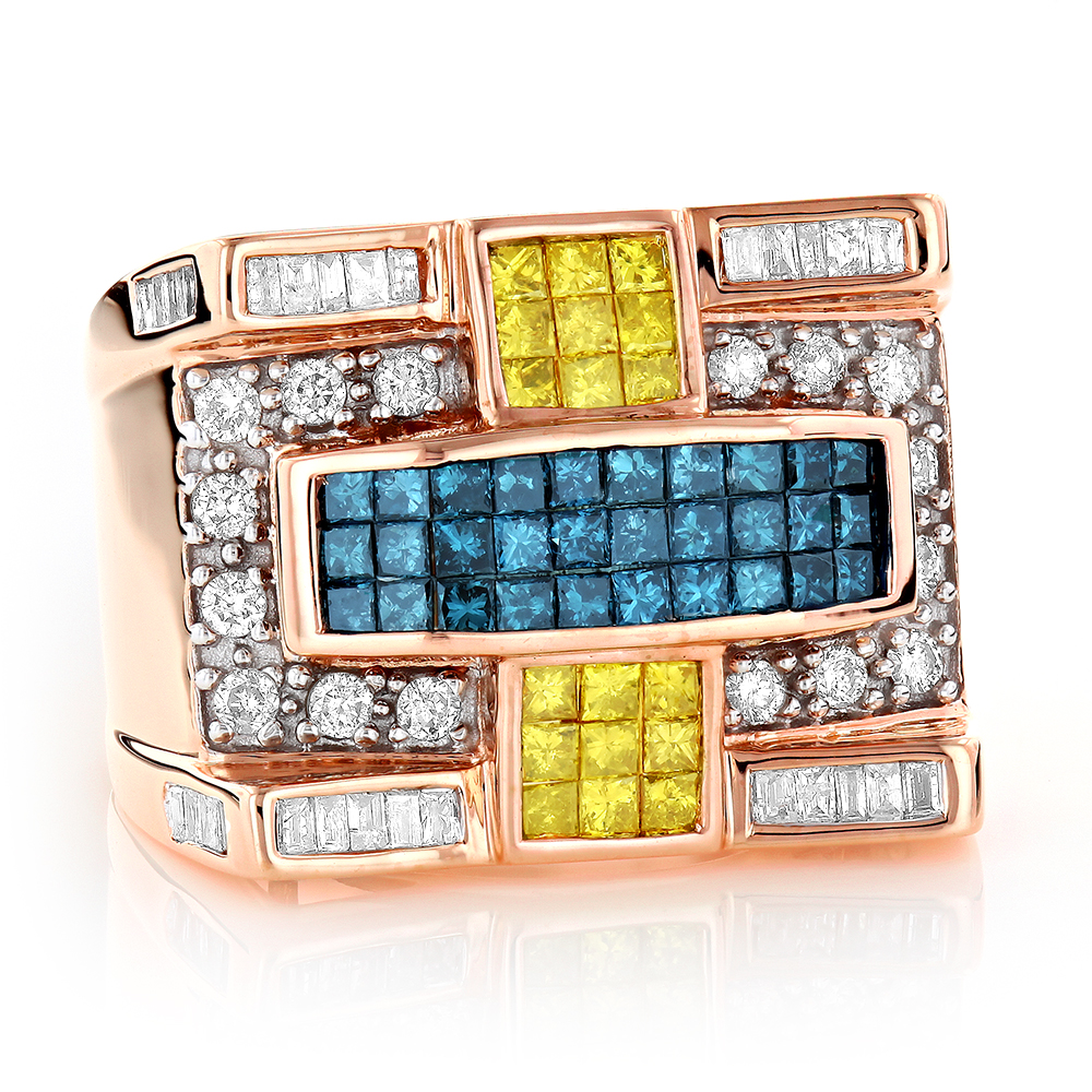 Mens White Blue Yellow Diamond Ring 2.15ct 14K