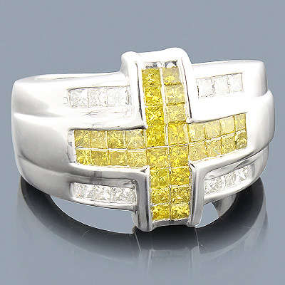 Mens White Yellow Diamond Cross Ring 14K 2.25ct