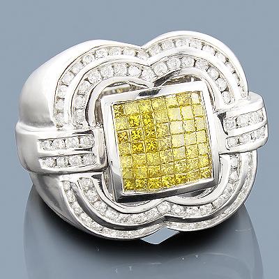 Mens White Yellow Diamond Ring 14K 2.50ct