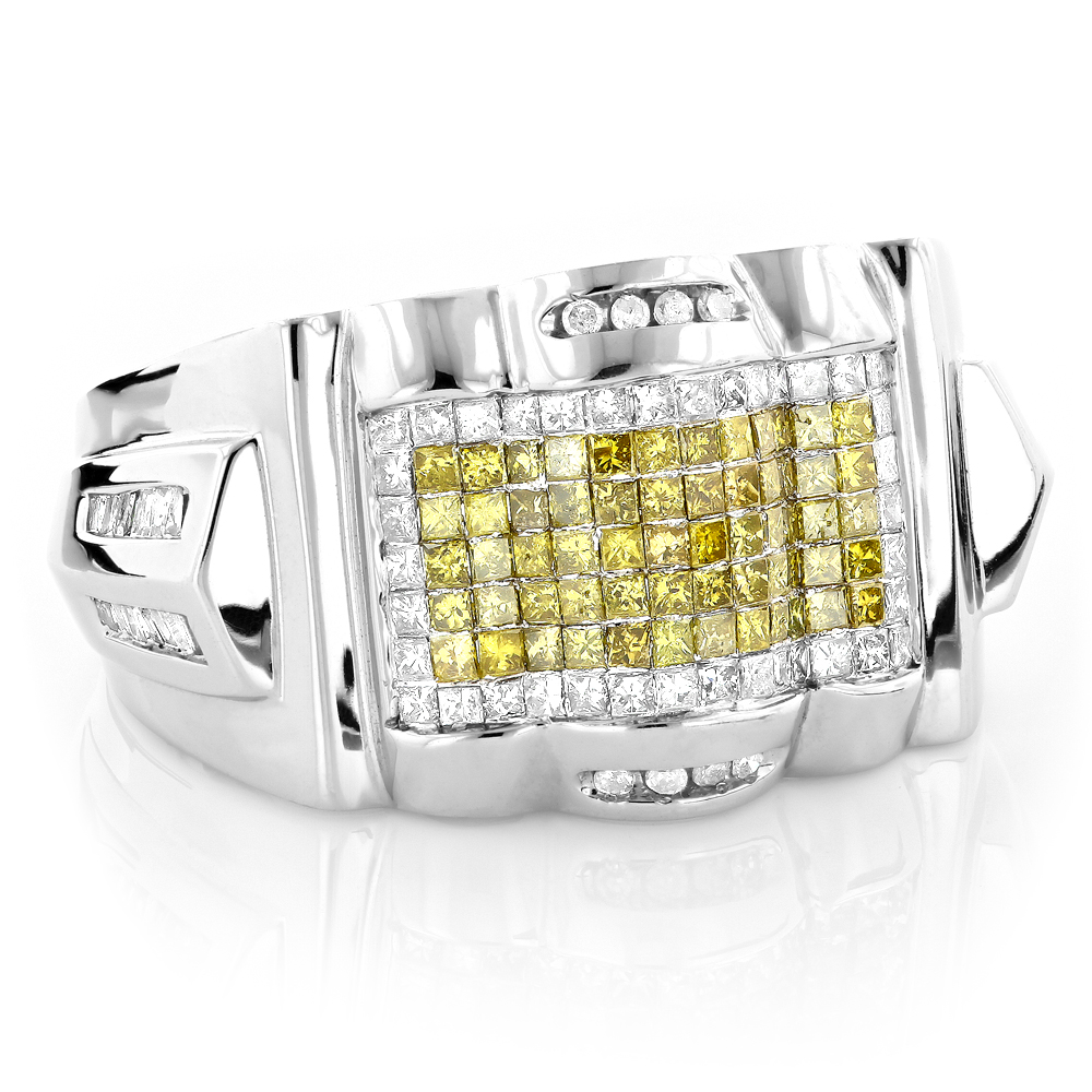 Mens White Yellow Diamond Ring 14K 2ct