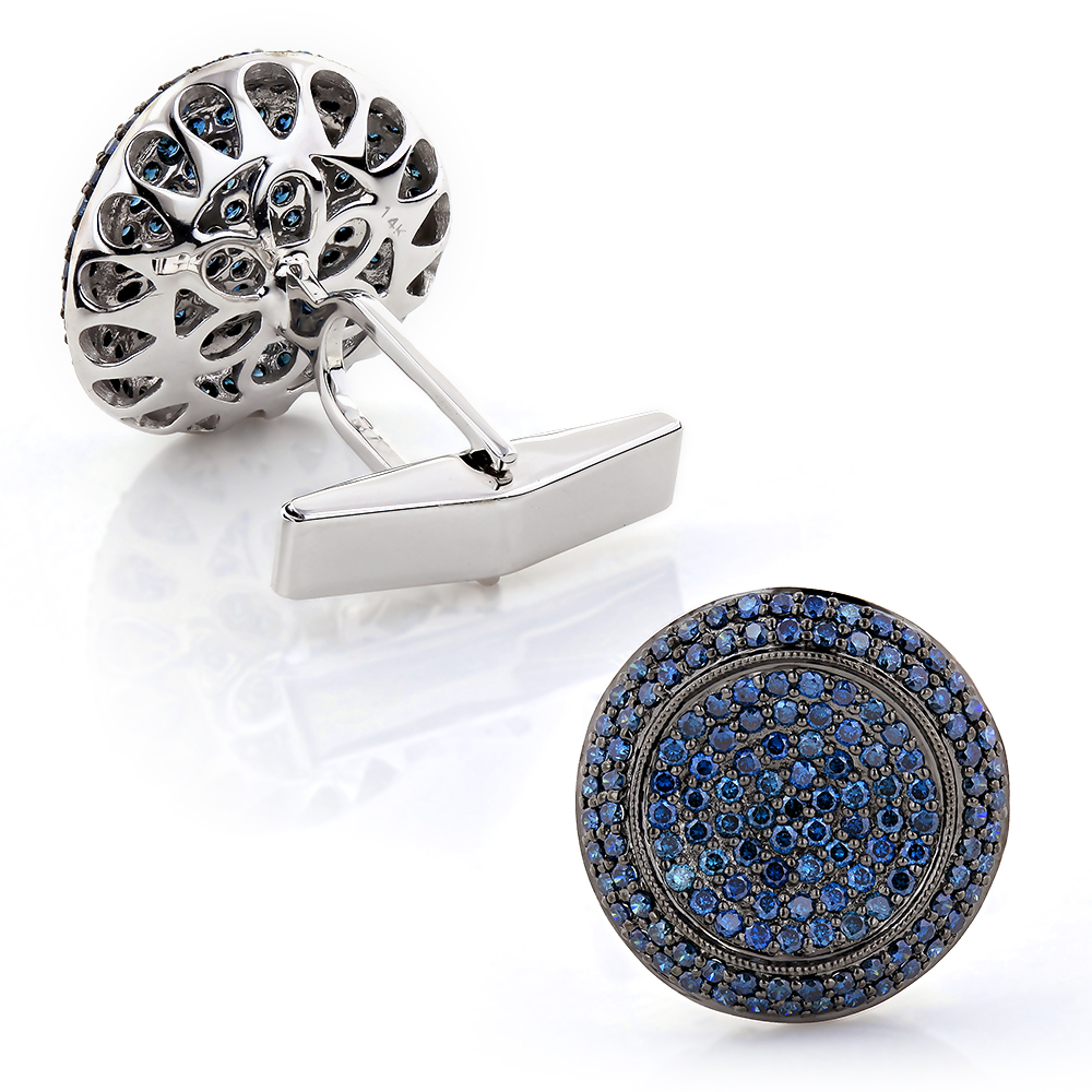 Mens & Womens Luxury Cufflinks: Custom Blue Diamond Cufflinks 14K Gold