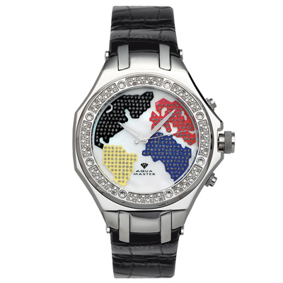 Mens World Map Aqua Master Diamond Watch 0.55ct