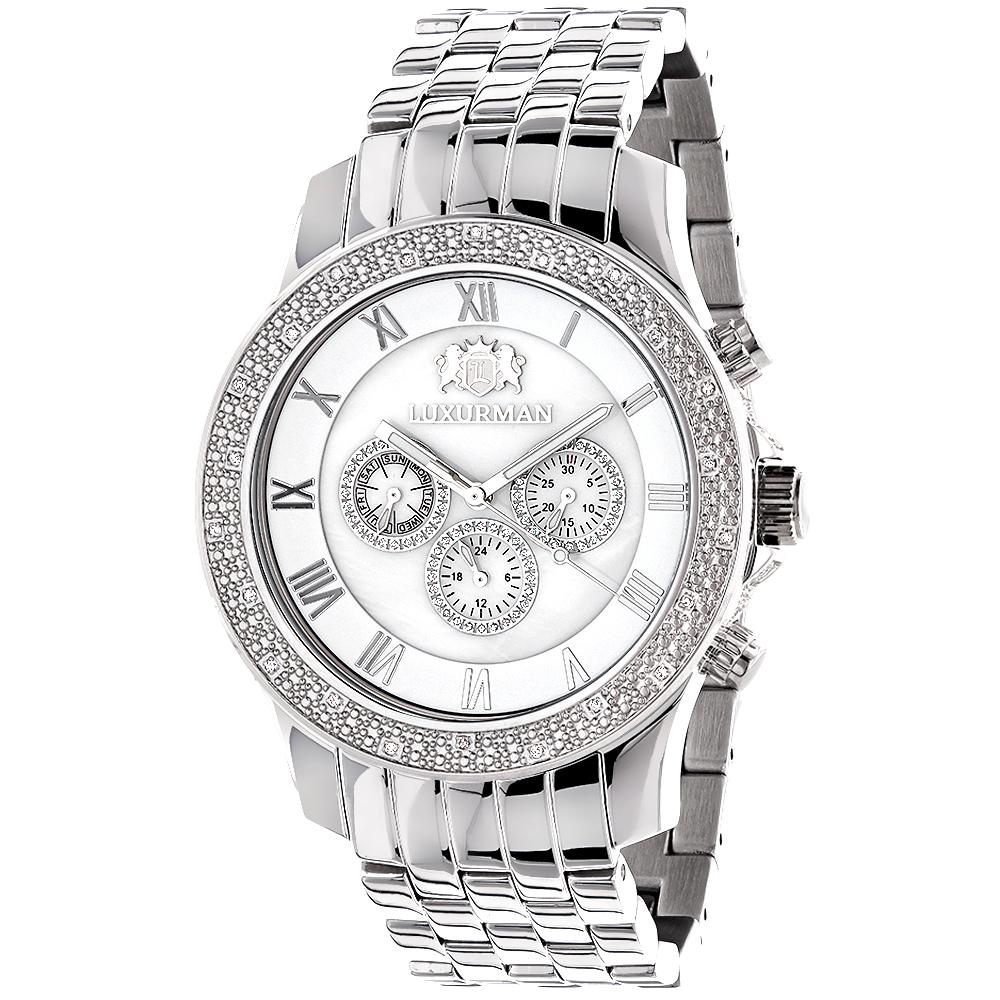 Mens Wristwatches Luxurman Mens Diamond Watch 0.25ct