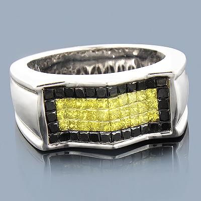 Mens Yellow Black Diamond Ring 14K 1.75ct