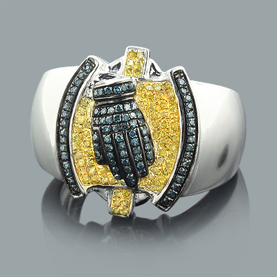 Mens Yellow Blue Diamond Ring 0.85ct Sterling Silver