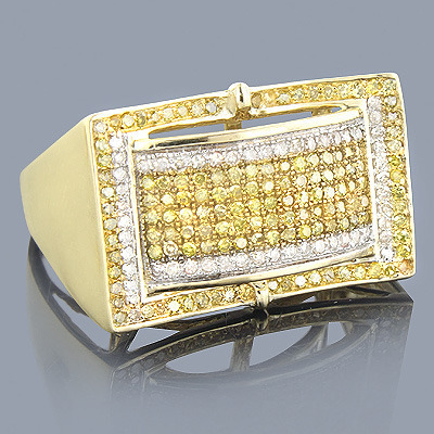 Mens Yellow Diamond Ring 0.91ct 10K Gold