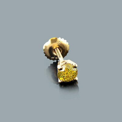 Mens Yellow Diamond Stud Earring 0.25ct 14K Gold