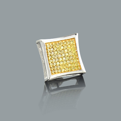 Mens Yellow Diamond Stud Earring 0.32ct 14K Gold