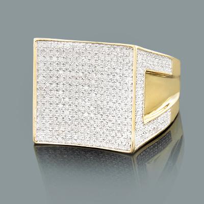 Mens Yellow Gold Diamond Ring 1.26ct 10K Gold