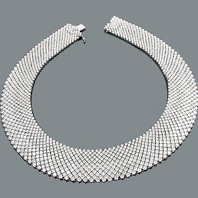 Mesh Collier Diamond Necklace 91.92ct 18K Gold