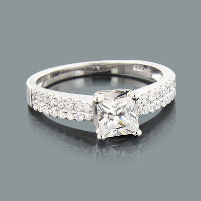 Micro Pave Diamond Engagement Ring Setting 0.42ct 14K Gold