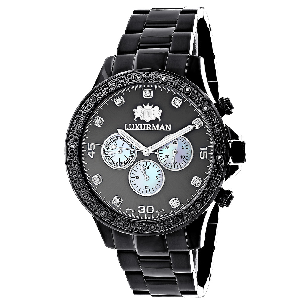 Midsize Mens Black Diamond Watch by Luxurman 0.25ct