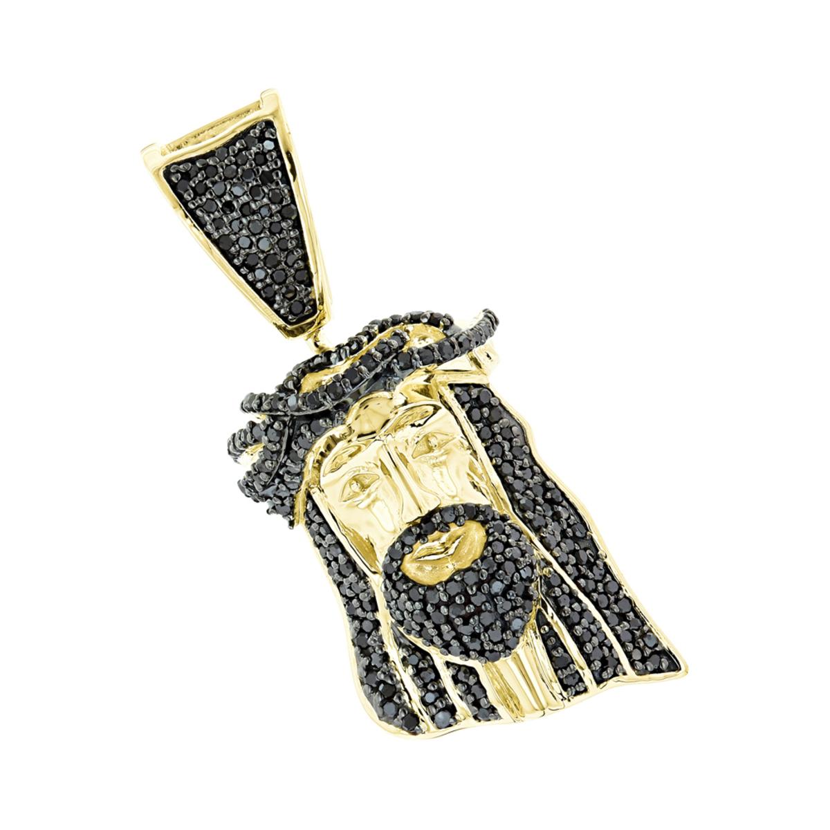 Mini black diamond jesus head pendant charm solid 10k gold 12 carat aloadofball Images