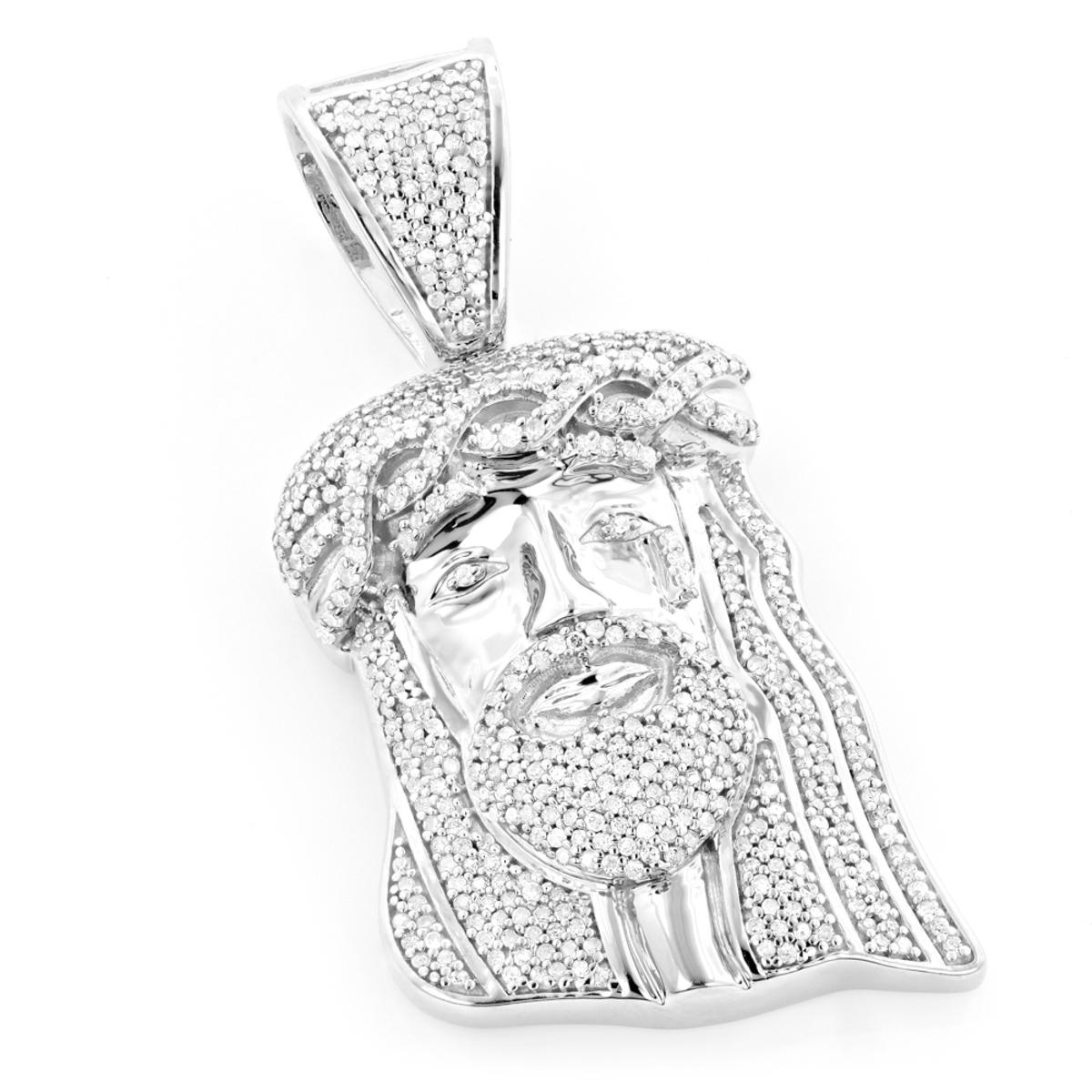 Mini Diamond Jesus Head Pendant 1ct 10K Gold Charm