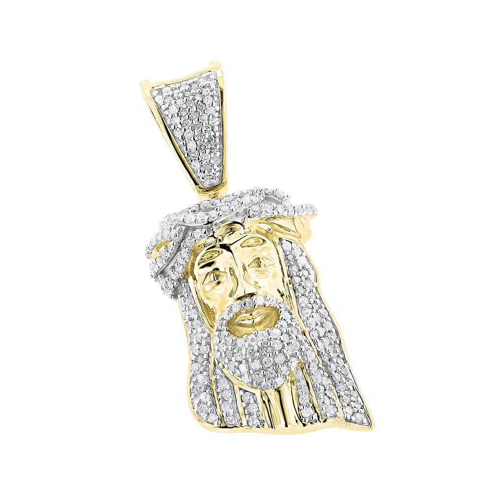 Mini Diamond Jesus Head Pendant Solid 10K Gold 1/2 carat
