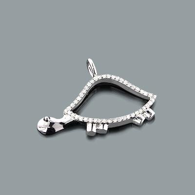 Mini Diamond Pendants: 10K Gold Turtle Pendant 0.15ct