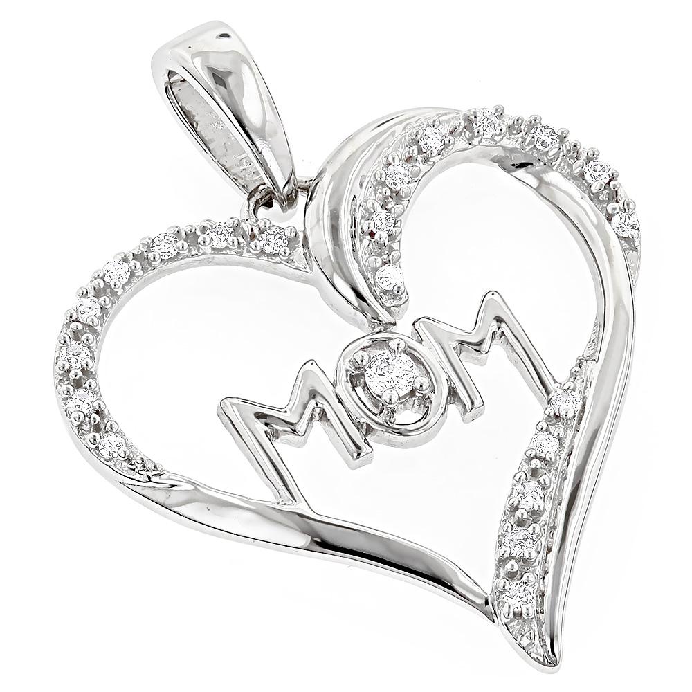Mom Jewelry: Gold Diamond Heart Pendant 0.12ct 10K Gold