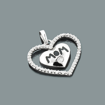Mom Jewelry: Gold Diamond Heart Pendant 10K Gold 0.12ct