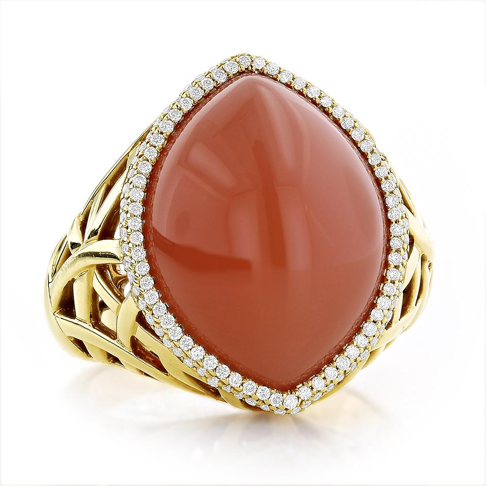 Moonstone Jewelry 14K Diamond Orange Moonstone Ring