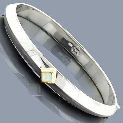 Mother Of Pearl 18K Sterling Silver Bangle Bracelet
