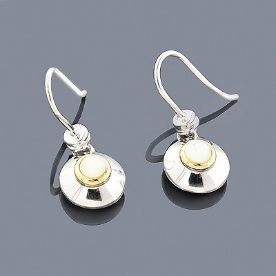 Mother of Pearl Earrings in Sterling Silver 18K Gold