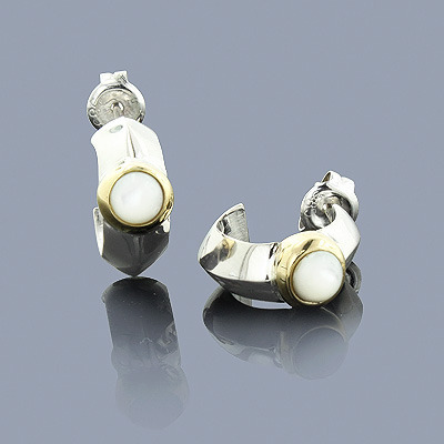 Mother of Pearl Earrings in Sterling Silver 18K Gold