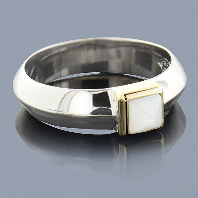 Mother Of Pearl Ring 18K Sterling Silver