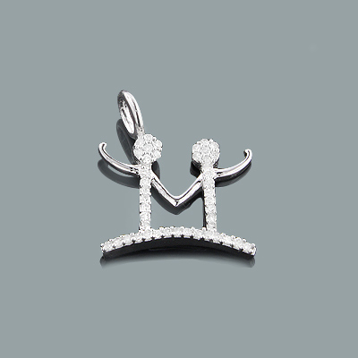 Mothers Day Gifts: Small Diamond M Pendant 0.16ct 10K Gold Charm
