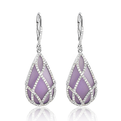 Natural Amethyst Teardrop Earrings with Diamonds 1.35ct 14K Gold