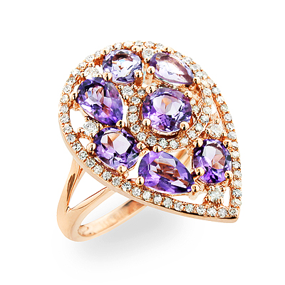 Natural Purple Amethyst  Ring With Diamonds 0.45ct 14K Gold