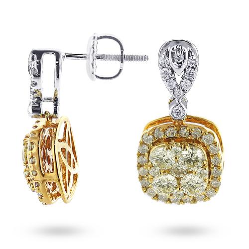 Natural Yellow Diamond Dangle Earrings 1.65ct 14K Gold