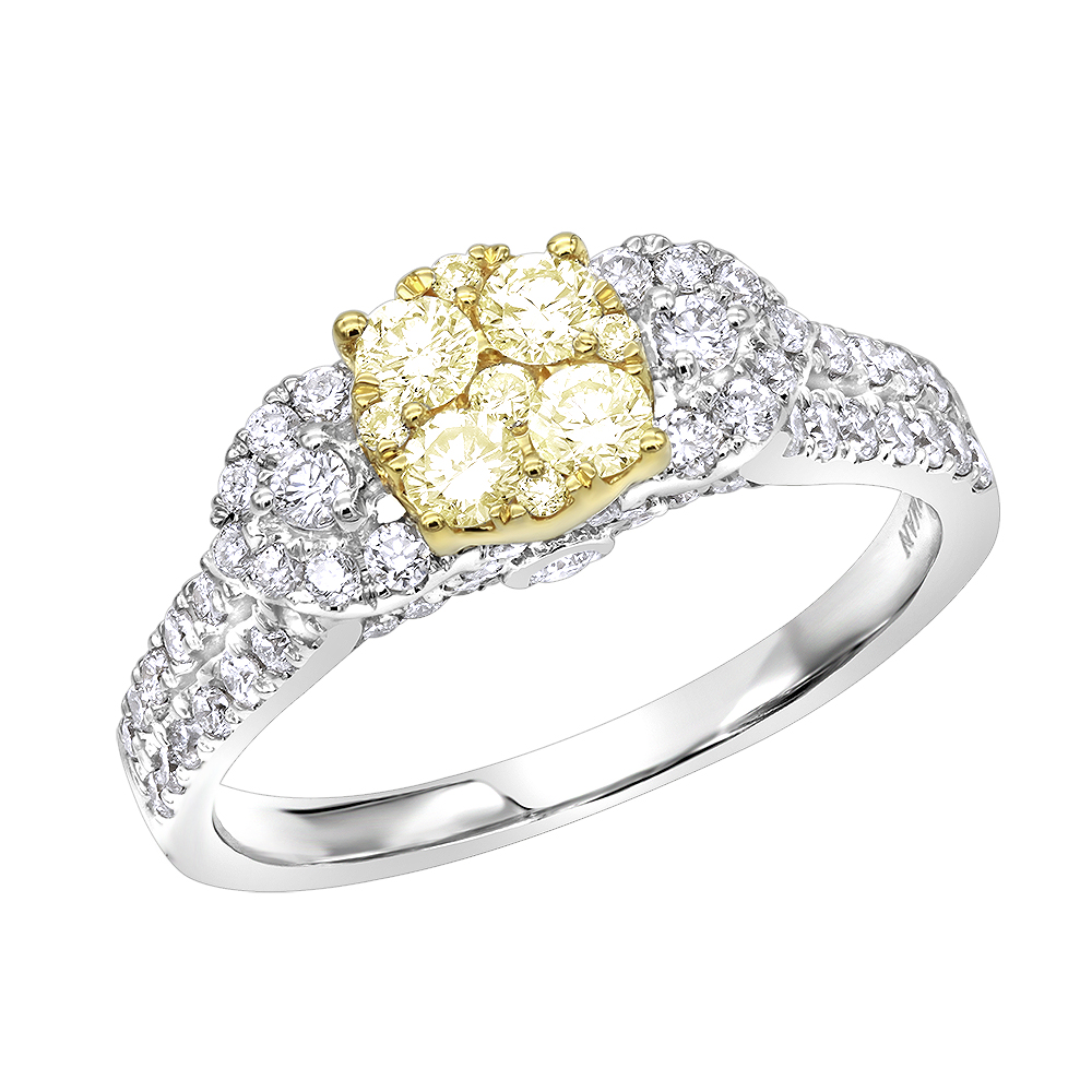 Natural White and Yellow Diamond Engagement Ring 1.2ct 14K Gold