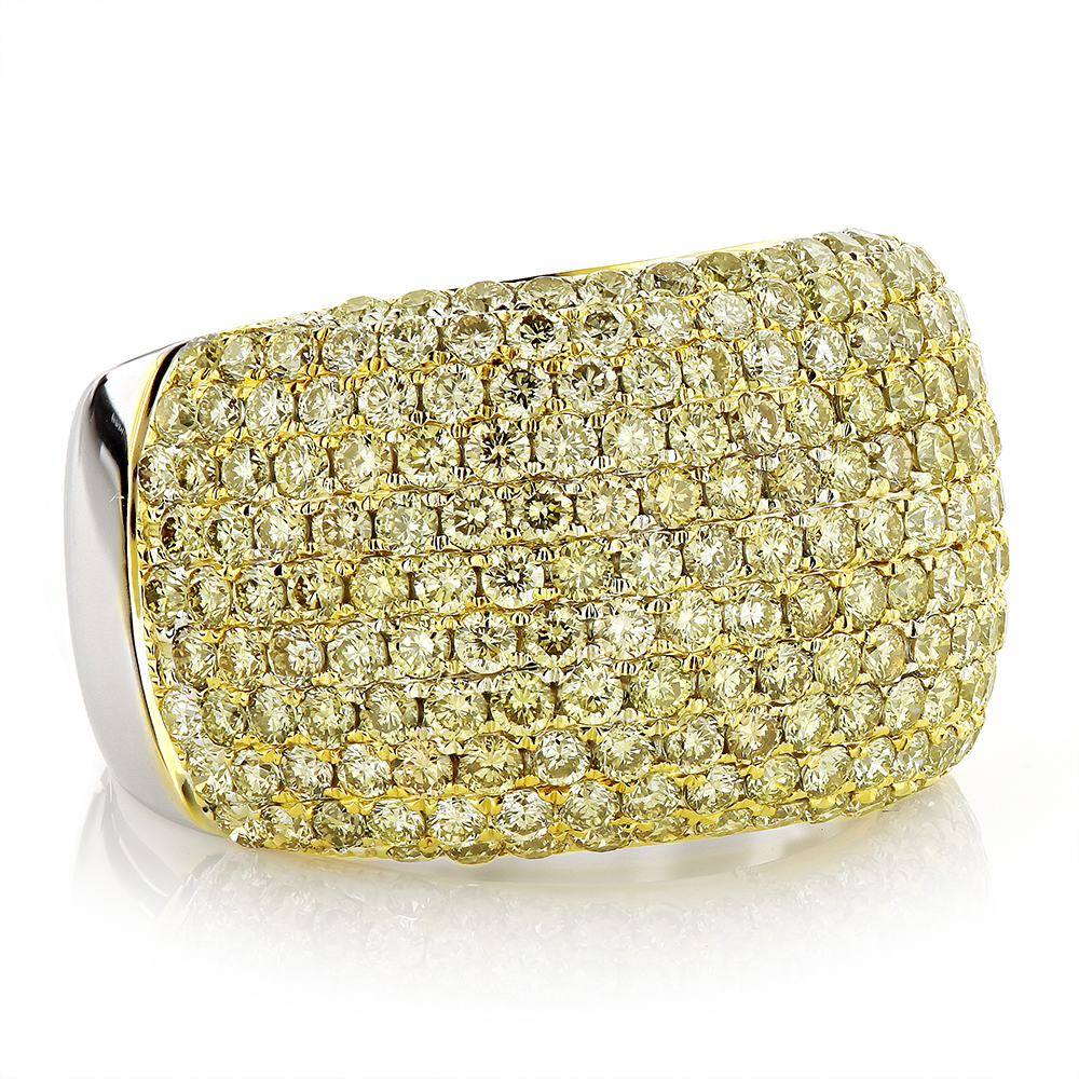 Natural Yellow Diamond Ring 3.35ct 14K Pave
