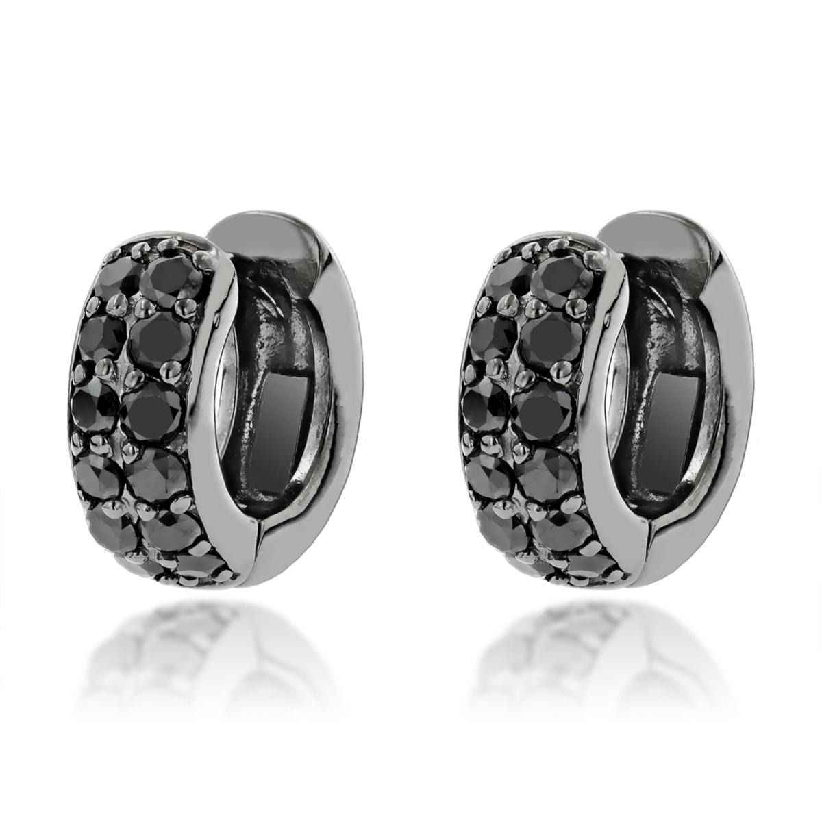 One Carat Black Diamond Hoops 14K Gold Huggie Earrings by Luxurman